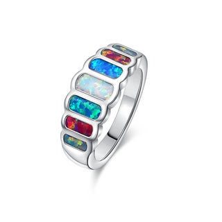 White Rhodium Plated Multi Color Fire Opal Statement Ring