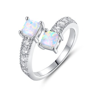 White Rhodium Plated Opal & Cubic Zirconia Bypass Ring