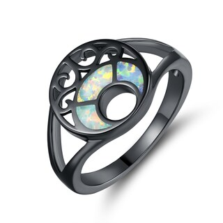 Black Rhodium Plated White Fire Opal Filigree Ring
