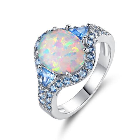 White Rhodium Plated Fire Opal & Sapphire Spinel Quartz Cocktail Ring