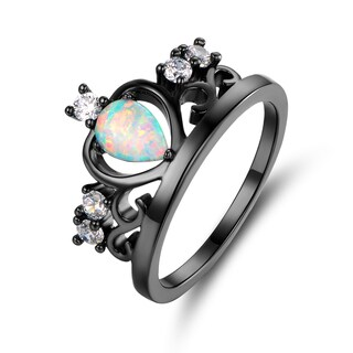 Black Rhodium White Fire Opal & Cubic Zirconia Crown Ring