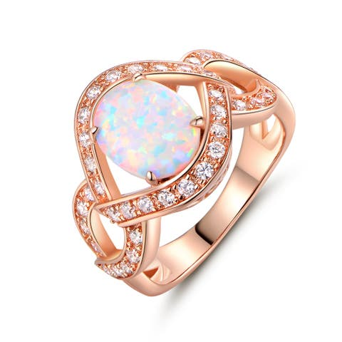 Rose Gold Plated White Fire Opal & Cubic Zirconia Statement Ring