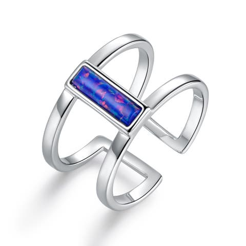 White Rhodium Plated Blue Opal Open Cuff Ring