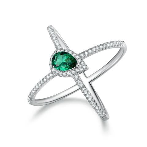 White Rhodium Plated Lab-Created Emerald x Ring