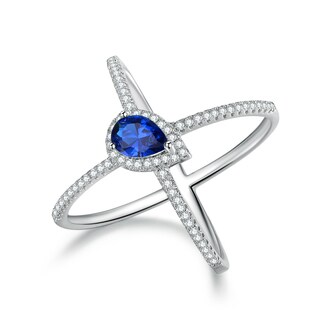 White Rhodium Plated Lab Created Sapphire X Ring