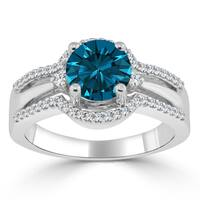 Auriya 14k Gold 1 1/5ct TDW Blue Round Diamond Engagement Ring