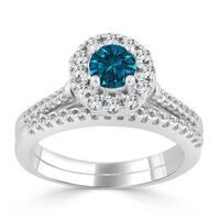14k Gold 3/4ct TDW Blue Round Halo Diamond Engagement Ring Set by Auriya