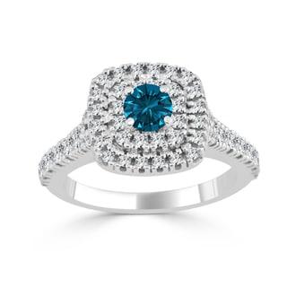 Auriya 14k Gold 1ct TDW Blue Round Diamond Double Halo Engagement Ring