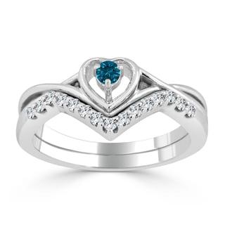 Auriya 14k Gold 1/4ct TDW Blue Diamond Accent Heart Wedding Ring Set