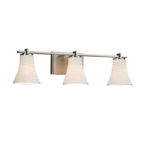 Justice Design Limoges Era 3-light Brushed Nickel Bath Bar, Waves Round Flared Shade - Silver