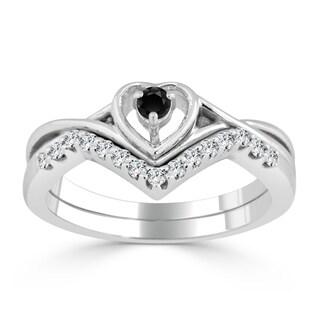 Auriya 14k Gold 1/4ct TDW Black Diamond Accent Heart Wedding Ring Set