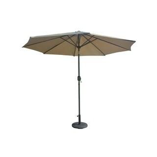 Direct Wicker Garden 9.8 ft. Patio Beige Market Umbrella with Steel Tilt, Crank and Base
