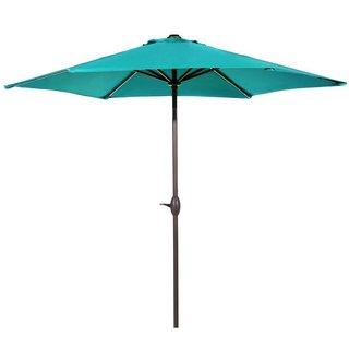 Direct Wicker 9.8 ft. Round Aluminum Green Market Umbrella with Crank Lift, Steel Tilt and Base