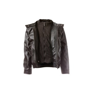 Vegan Leather Moto Zip Out Faux Sherpa Fleece Lined Bib & Quilted Lining
