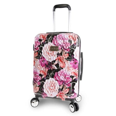 bebe Marie Black Floral Print 21-inch Hardside Spinner Carry-On Suitcase