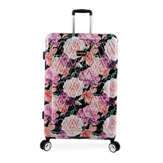 bebe Marie Black Floral Print 29-inch Hardside Spinner Upright Suitcase