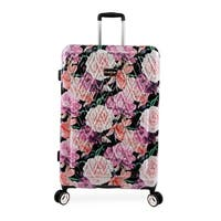 bebe Marie Black Floral Print 29-inch Hardside Spinner Upright Suitcase