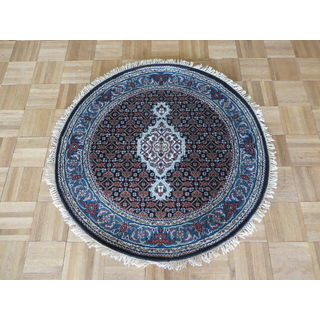 Mahi Tabriz Black/Sky Blue Wool and Silk Hand-knotted Oriental Round Rug (3' x 3')