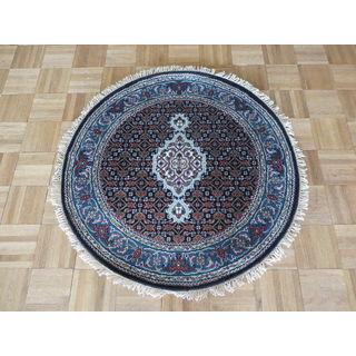 Mahi Tabriz Black/Sky Blue Wool and Silk Hand-knotted Oriental Round Rug (3' x 3')