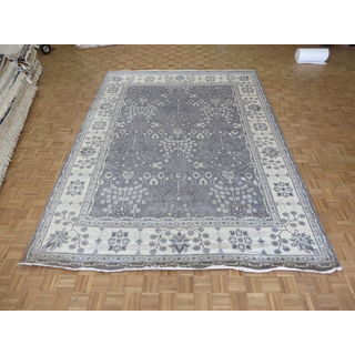 Oushak Grey/Ivory Wool Oriental Hand-knotted Area Rug (9'11 x 13'9)
