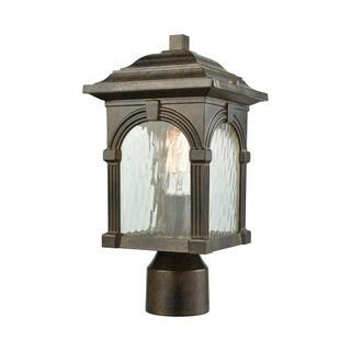 Stradelli Hazelnut Bronze Clear Water Glass 1-light Outdoor Post Mount Light