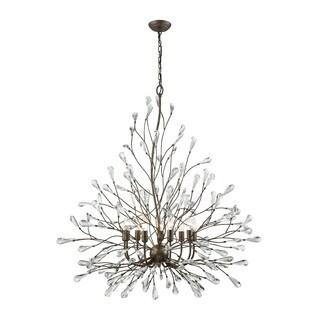 Crislett Sunglow Bronze Clear Crystal 9-light Chandelier