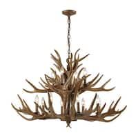 Elk Wood Brown Metal 12-light Chandelier