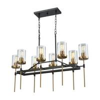 North Haven Oil Rubbed Bronze Satin Brass Accents Clear Glass 8-light Chandelier