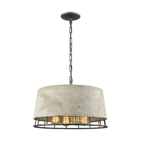 Brocca 4-Light Chandelier in Silverdust Iron with Concrete and Metal Shade