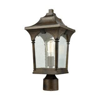 Loringdale Hazelnut Bronze 1-light Outdoor Post Mount Outdoor Light with Clear Seedy Glass
