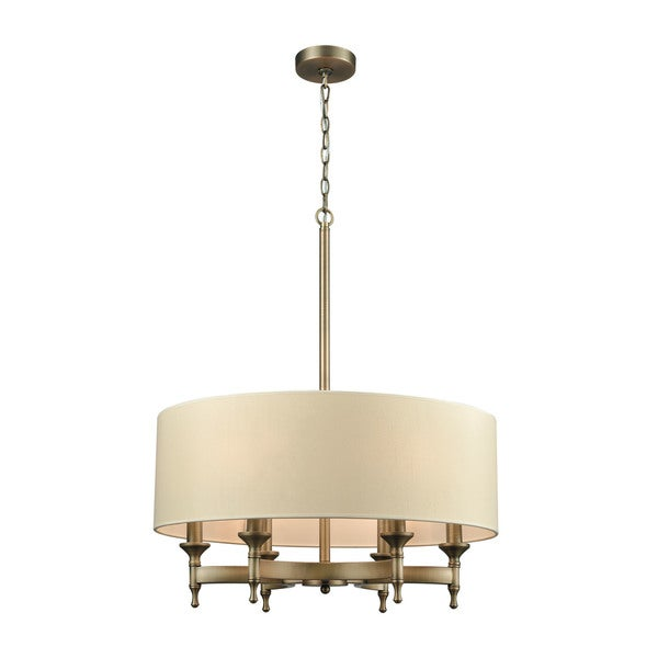 Pembroke Brushed Antique Brass 6 Light Chandelier With Tan Fabric Shade