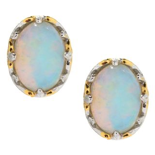 Michael Valitutti Palladium Silver Ethiopian Opal Stud Earrings
