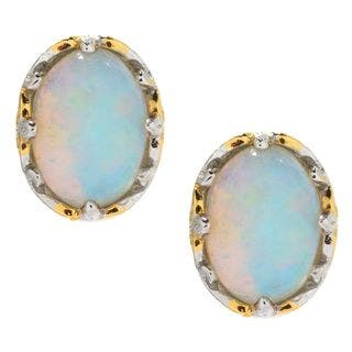 Michael Valitutti Palladium Silver Ethiopian Opal Stud Earrings|https://ak1.ostkcdn.com/images/products/16849580/P23148478.jpg?impolicy=medium