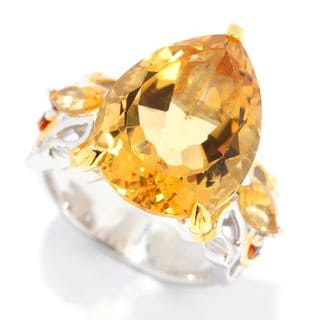 Michael Valitutti Palladium Silver Multi Citrine Branch & Leaf Ring