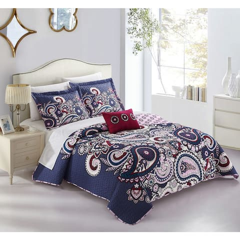 Chic Home Gaara Purple 8-Piece Complete Bed in a Bag Reversible Quilt Set