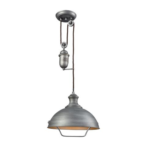 Farmhouse Weathered-zinc-finished Metal 100-watt 1-light Height-adjustable Pulldown Pendant Light