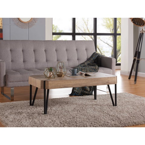 Handy Living Dawn Aged Oak Rectangular Cocktail Table with Black Metal Legs