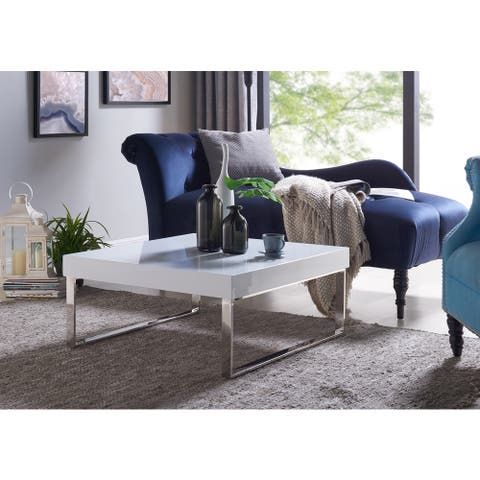 Handy Living Enrique White Square Coffee Table with Chrome Legs