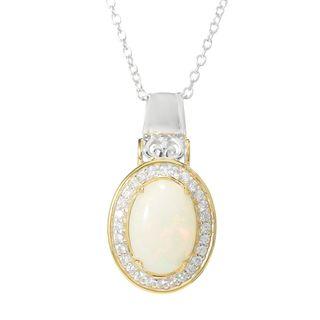 Michael Valitutti Palladium Silver Ethiopian Opal & White Zircon Halo Pendant