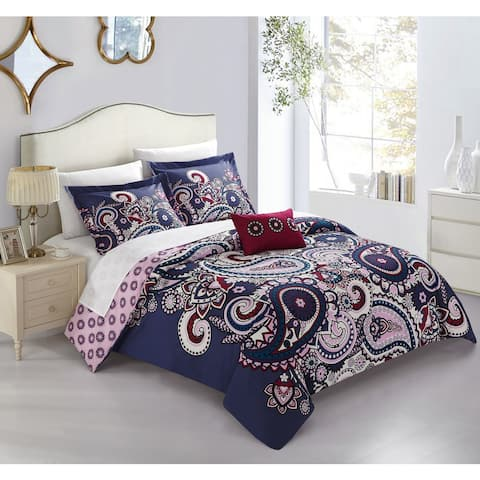 Chic Home Mariko Purple Paisley Print 4 Piece Reversible Duvet Cover Set