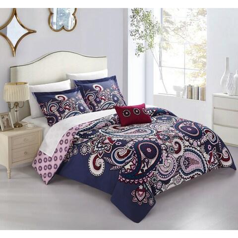 Chic Home Mariko Purple Paisley Print 4 Piece Reversible Duvet Cover Set