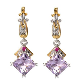 Michael Valitutti Palladium Silver Princess Cut Pink Amethyst & Dark Pink Sapphire Drop Earrings