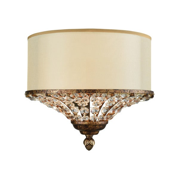 Crystal spring spanish bronze 2 light wall sconce with cream fabric crystal spring spanish bronze 2 light wall sconce with cream fabric shade inside beige organza aloadofball Gallery
