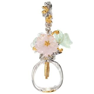 Michael Valitutti Palladium Silver Carved Multi Gemstone Flower Vase Drop Charm