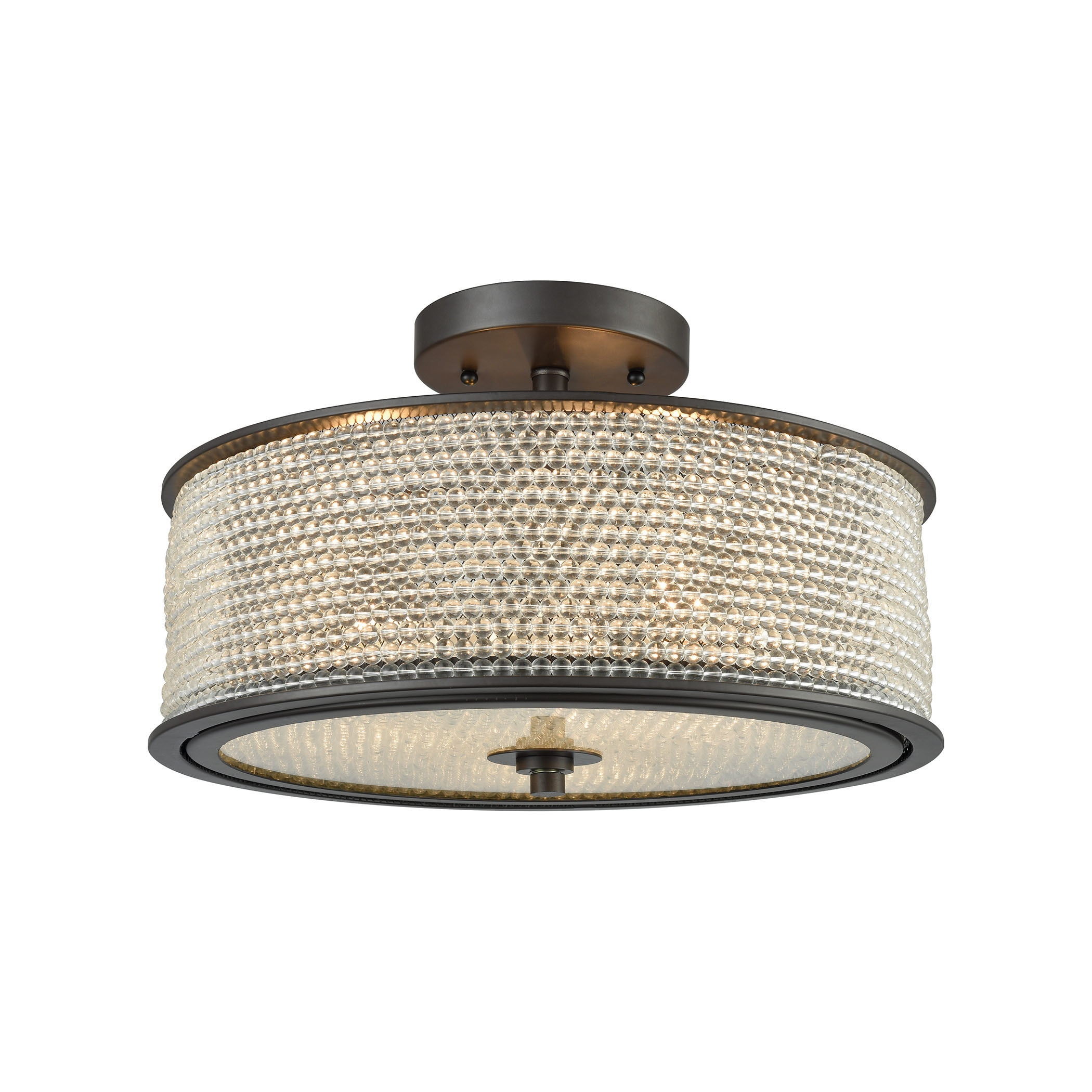 Glass Beads 3 Light Oil Rubbed Bronze Semi Flush Mount With Clear Glass Balls Overstock 16849763