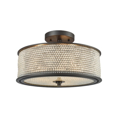 Glass Beads 3-light Oil-rubbed Bronze Semi-flush Mount with Clear Glass Balls