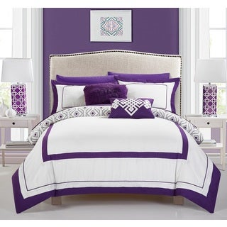 Chic Home Alon Purple 9 Piece Complete Bed in a Bag Reversible Comforter Set
