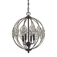 Crystal Web Matte Black and Bronze Gold Metal with Clear Crystal 4-light Chandelier