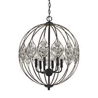 Black Metal and Clear Crystal Web 6-light Chandelier