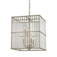 Ridley Aged Silvertone 6-light Chandelier with Oval Glass Rods